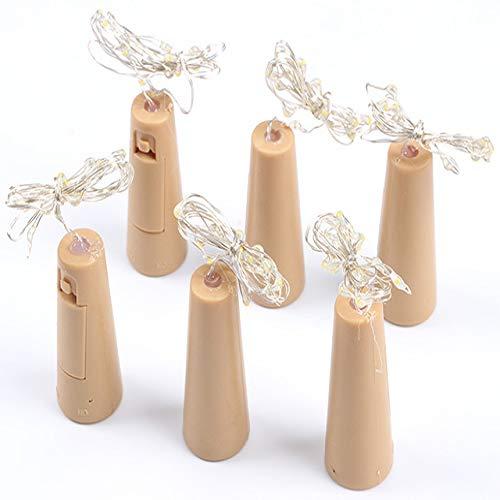 WSYYWD led bottiglia di vino sughero corda lampada filo di rame fata stellata decorazione della festa nuziale luce stringa 6 pz 0.8 m Multicolore