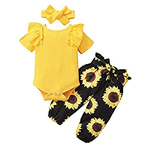 ZOEREA Conjunto de Ropa de Bebé Niña Manga Larga Mameluco con Volantes Mono Body + Pantalones Floral + Venda Recién Nacido Niñas Otoño Primavera Trajes 3 Piezas (Estilo 4 Amarillo, 12-18 Meses)