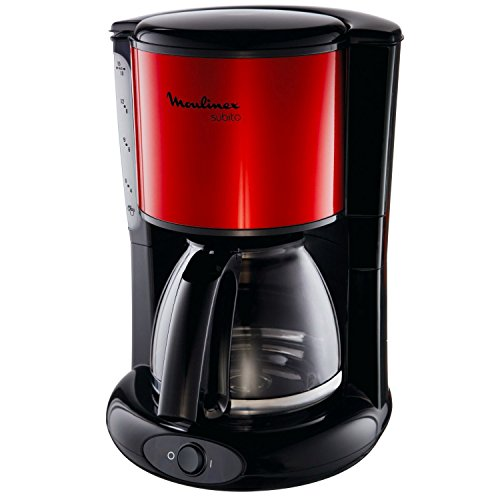 Moulinex FG360D Subito - Cafetera de goteo (de 10 a 15 tazas, 1,25 L), color rojo metalizado