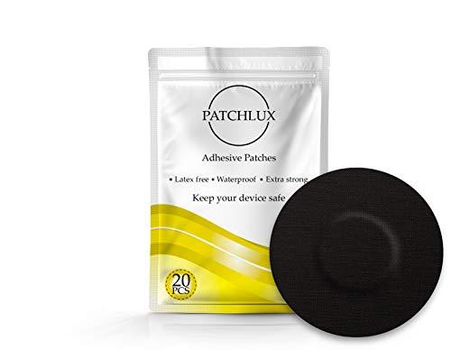 Patchlux - Parches adhesivos impermeables para protección de sensor CGM | Compatible con Freestyle Libre, Medtronic Guardian, Enlite | Sin agujeros | 20 unidades de cinta precortada CGM negra
