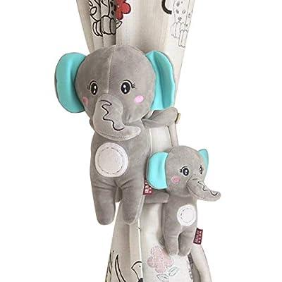 SCTD Cartoon Animal Curtain Holdbacks - Set of 2 Cute Elephant Curtain Tiebacks Rope for Baby Kids Nursery Window Treatment Decoration (Gray Elephant)