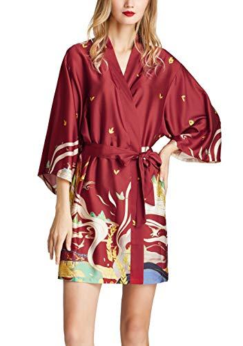 Westkun Kimono Albornoz Mujer Bata Corto Sexy y Elegante Ropa de Noche Despedida de Soltera Lenceria de Aspecto Brillante Cardigan para Novia Dama de Honor(Rojo A,L)