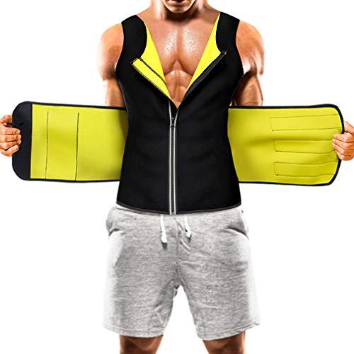ZOME Mens Sauna Suit Waist Trainer Vest Hot Sweat Neoprene Body Shaper Tummy Workout Zipper Tank Top, Black, XX-Large