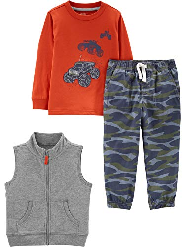 Simple Joys by Carter's Boys' Toddler 3-Piece Fleece Vest, Long-Sleeve Shirt, and Woven Pant Playwear Set, Tanks/Camo