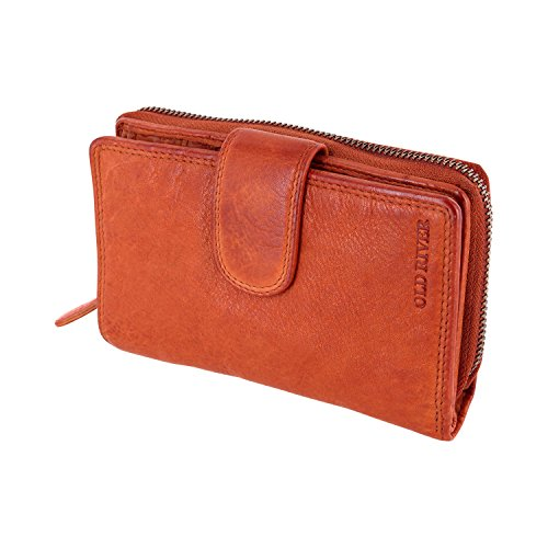 Damen Geldbörse, Portemonnaie Brieftasche Mod.5028 (10,5/16/ 4 cm) Mittelgroß gewaschenes echtes Leder, Cognac