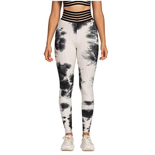 Xmiral Yoga Hose Damen Tie-Dye Plaid Bubble Yoga Hose Hohe Taille Atmungsaktive Hüftheben Übung Leggings(Weiß,XL)