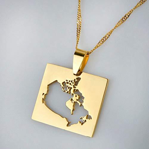 YOUHU Collar Mujer Mapa,Vintage Canadá País Mapa Colgante Cuadrado Dorado Mapa Ahuecado...