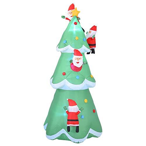 Feichanghao Uppblåsbar julgran, 8 fot julgran med flerfärgade presentlådor, självuppblåsande elektrisk belysning, inomhus utomhus trädgård gård familj rekvisita dekoration