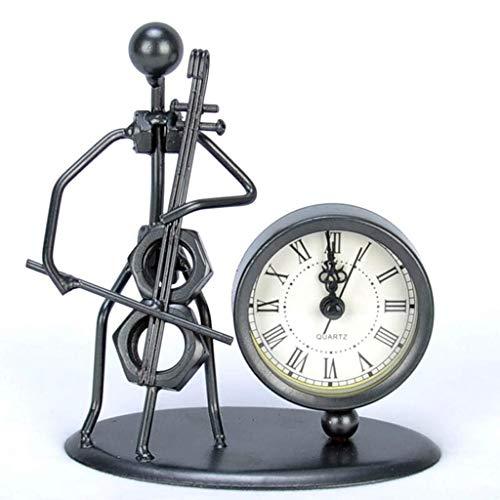 MUMUMI Reloj Despertador, Reloj Nuevo Escritorio Inicio Comercial Hierro Fuerza Sala de Estar Mute Retro Mesa Creativa Adorno Decorativo Alarma,C
