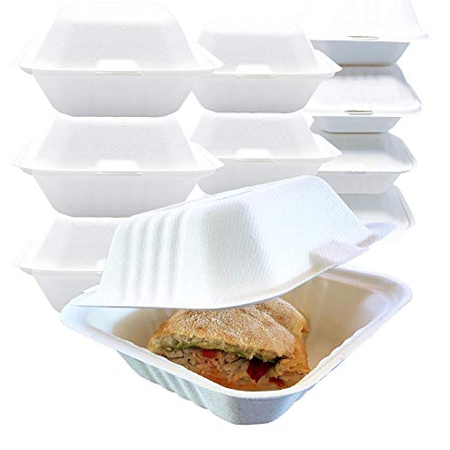 "Reli. Compostable To Go Food Containers, Clamshell 6""x6"" 
