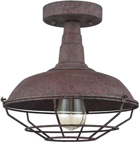 Oude half verzonken plafondlamp met schuur gelakt metaal Rust Wire Cage Open haard Keuken 1 vak lamp