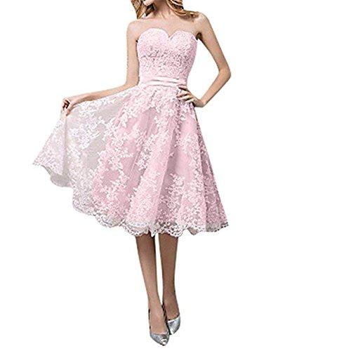 Cloverbridal Hochzeitskleider Für Damen Weiß Standesamt Kurz Tüll Spitze A Linie Champagner Brautkleider Rosa 38