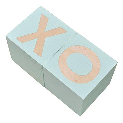 bismarckbeer Holzwürfel mit schönem Buchstaben XO Bedruckt, für Kinderzimmer, Tischdekoration, Fotografie-Requisiten, Kiefer, mintgrün, Einheitsgröße