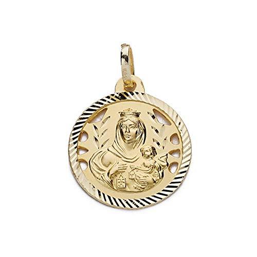 Colgante Oro 18K Virgen Carmen 18mm. Calada Tallada Medalla [Ac0200Gr] - Personalizable - Grabación Incluida En El Precio