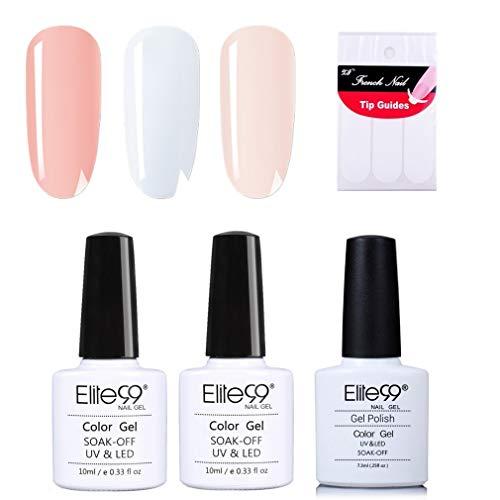 Elite99 French Nägel Design Nagellack, Weiß und Rosa Gellack, Frenchnägel Maniküre, UV Gel Nail Polish 10ml und French Tip Guide Nagellack UV Set 001