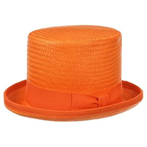 Chapeaushop Haut-de-Forme Rom en Paille Chapeaux de Paille Chapeau pour Homme (55 cm - Orange)