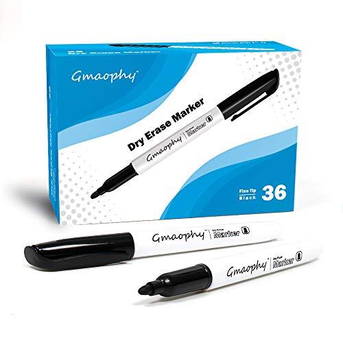 Dry Erase Markers, 36 Pcs Black Fine tip Whiteboard Pens Erase Markers for Glass/Whiteboard/Porcelain/Plastic/School/Office Supplies