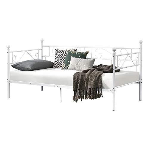 [en.casa] Tagesbett 90x200 Metallbett Bett Daybed Bettsofa Kojenbett Jugendbett