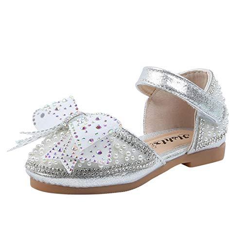 Zapatos de bebé para niña, sandalias de princesa, con lazo, cristales, zapatos de piel suave, zapatos de aprendizaje, niños pequeños de 1 a 10 años de edad, plata, 30