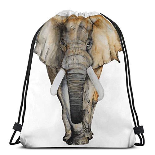 Lsjuee Drawstring Rucksack Tasche Leichte Gym Travel Yoga Casual Snackpack Umhängetasche zum Wandern Schwimmen Aquarell handgezeichnete Elefant weiße Broschüre Einladungskarte Postkarte