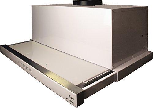 Kaiser Luxus Flachschirmhaube 60cm / 910m³/h/Edelstahl Dunstabzugshaube 60 cm mit Weiß Glas/Einbauhaube /3 Stufen/TouchControl/Abzugshaube/LED Beleuchtung/Ablufthaube/Umlufthaube/m. Umluftset