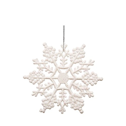OULII Fiocchi di Neve per Natale Fiocchi di Neve per Decorazione Albero di Natale da Appendere di 10 cm 12PCS (Bianco)