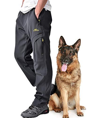 Hubunucc Mens Hiking Softshell Fleece Lined Waterproof Windproof Outdoor Mountain Ski Insulated Pants