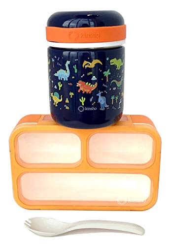 Kids Soup Thermos & Bento Lunch Box, Insulated Stainless Steel Wide Mouth Hot Food Jar & Small Lunchbox, Toddlers Boys Pre-School Daycare Leakproof Vacuum Seal Container 10 oz Blue Orange Dinosaur