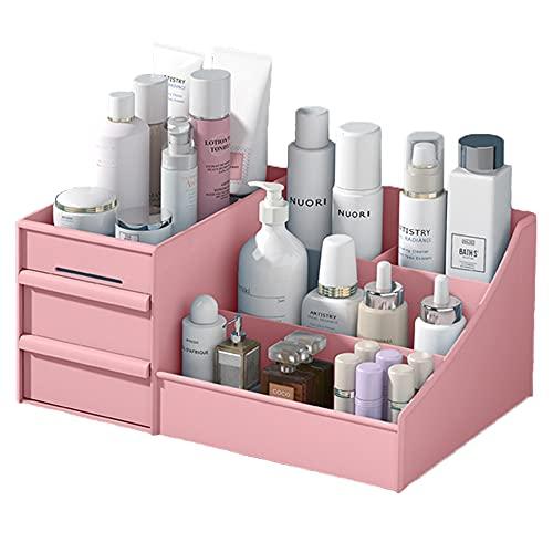Almacenamiento de maquillaje, organizador de maquillaje con cajones, almacenamiento de maquillaje, tocador cosmético organizador para aparador, dormitorio, baño, Pink, S,