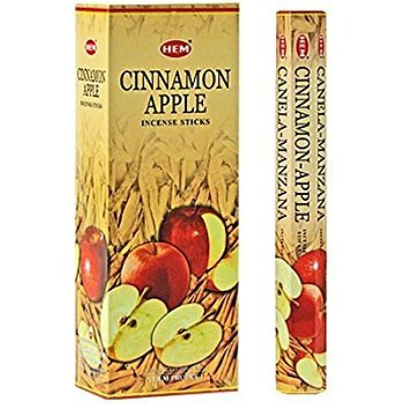 研磨用心する切るCinnamon Apple - Box of Six 20 Stick Tubes - HEM Incense