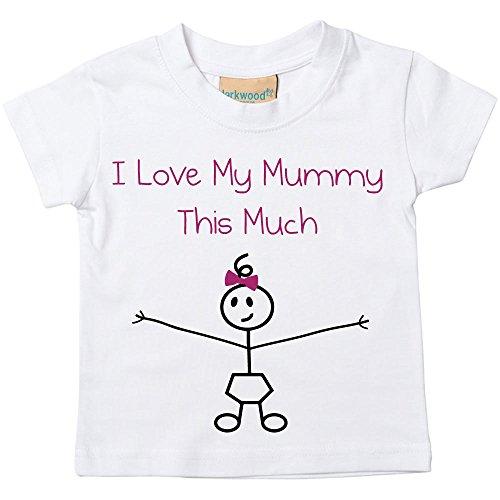 60 Second Makeover Limited Filles I Love My Mummy This Much T-Shirt Bébé Tout-Petit Enfants Disponible en Tailles 0-6 Mois pour 14-15 Ans Fille Bâton Personne - Blanc, 14-15 Ans