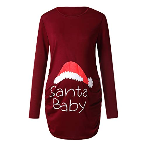 INLLADDY Frauen Weihnachten Mutterschaft Tops Damen Weihnachten Bluse Seite Geraffte Langarm Mutterschaft Top Mama Schwangerschaft Kleidung Schwangere Pullover Rot XL