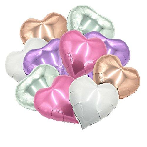 ballonfritz® Herzballons Set in Rosegold / Violett (Flieder) / Rosa / Silber / Weiß 10-TLG. - XXL 18