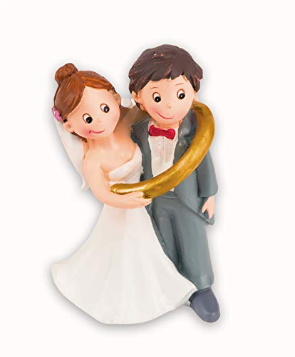 Hobbyfun Hochzeitspaar im Ring Tortenfigur ca. 8 cm - Dekofiguren als Topping für Hochzeits-Torte - Geschenkidee für Braut & Bräutigam am Hochzeitstag