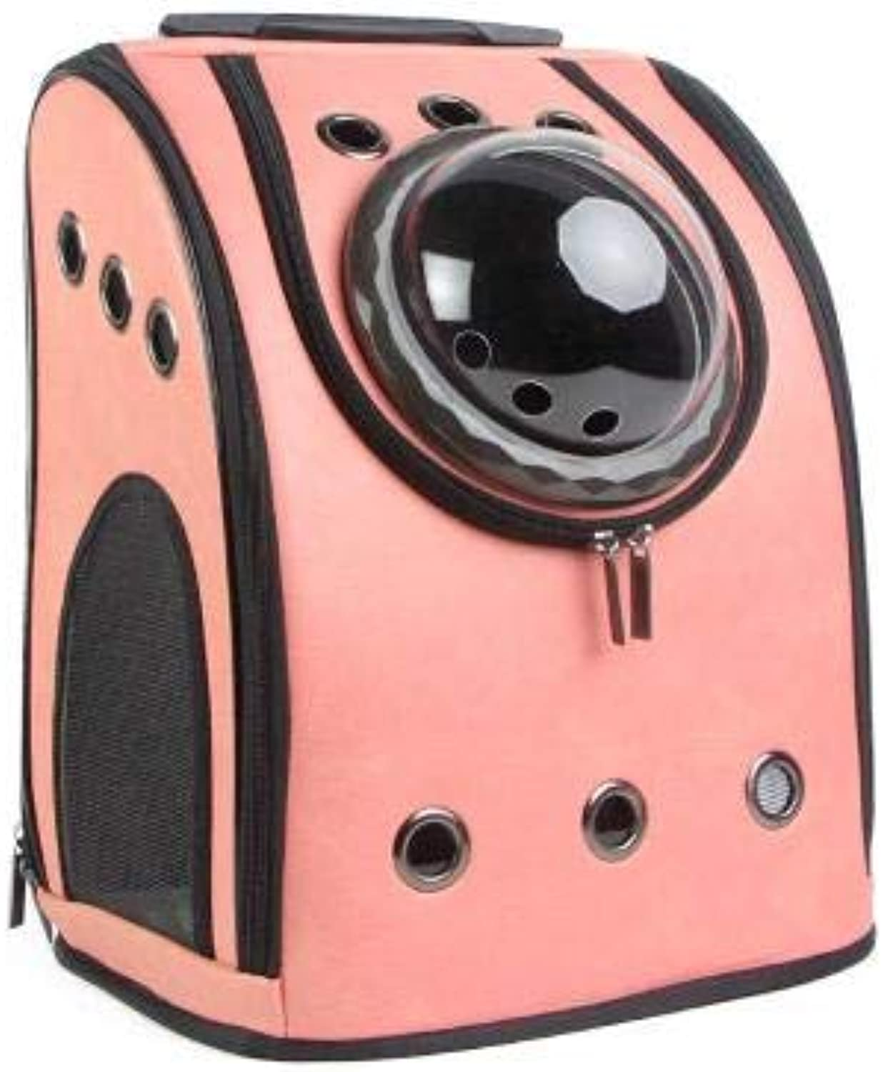 CHEN. Pet bag Space pet cabin bag out portable dog bag cat bag shoulders breathable big cat bag travel space bag pet supplies,Pink,32  26  42cm