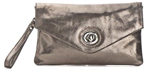 CNTMP, Damen Handtaschen, Clutch, Clutches, Clutchbags, Unterarmtaschen, Partybags, Trend-Bags, Metallic, Leder Tasche, 25x14x1cm (B x H x T), Farbe:Anthrazit