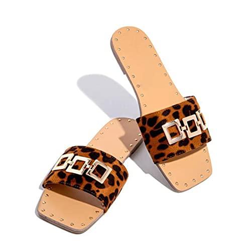 NUGKPRT chanclas,Zapatillas de verano de talla grande Zapatos de mujer Lentejuelas Diamantes de imitación Planas Chanclas con punta abierta 37 H060 - Leopardo
