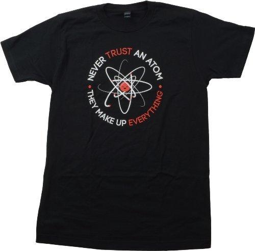 Ann Arbor T-shirt Co. «Never Trust an Atom, They Make Up Everything» - Diseño Divertido sobre química - Broma sobre Cargas atómicas - Camiseta Unisex para Hombre - Medio - M