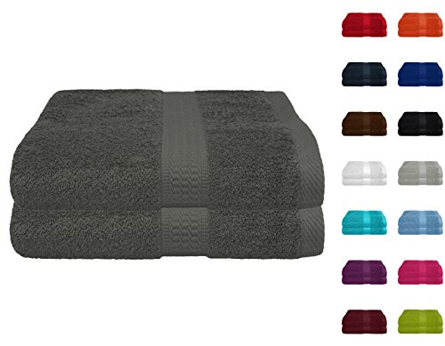 2er Pack Frottier Saunatuch, Saunatücher Set 80x200 cm 100{7d89bbde9aeac08a377234b79951b34357f9c64fd4529fa855103e66afc6d0cc} Baumwolle in 15 modernen Farben Anthrazit
