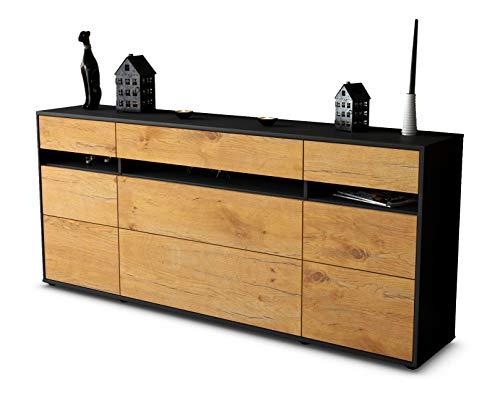 Stil.Zeit Sideboard Giada/Korpus anthrazit matt/Front Holz-Design Eiche (180x79x35cm) Push-to-Open Technik & Leichtlaufschienen