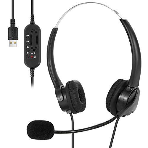 Auriculares USB con micrófono Cancelación de ruido y controles de audio, auriculares USB con cable para PC súper ligero y comodidad para llamadas de conferencias