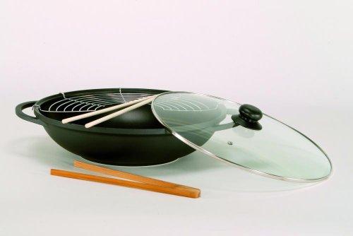 Aluguss Wok Leipzig mit Glasdeckel und Zubehör, Ø 36 cm
