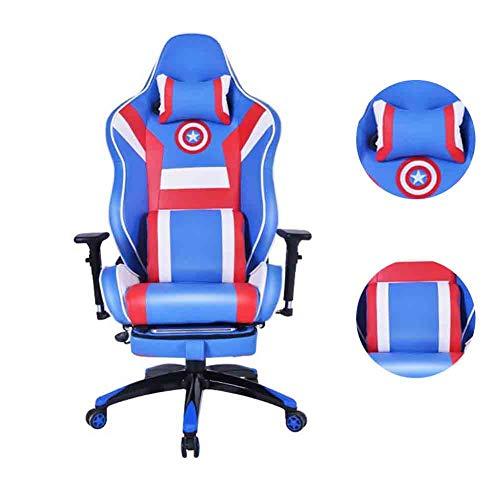 CSPFAIZA Silla Gaming con Reposabrazos Ajustable y Espalda Alta, Rotacion de 360 °, Diseno Ergonomico - Cojin Confort - Azul,B