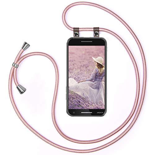 moex Handykette kompatibel mit Nokia 2.1 Hülle mit Band Längenverstellbar, Handyhülle zum Umhängen, Silikon Hülle Transparent mit Kordel Schnur abnehmbar in Rosegold
