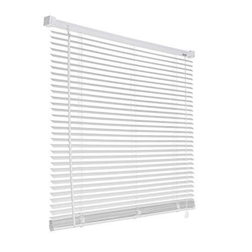 Aufun Dekologi - Persiana veneciana de PVC (120 x 160 cm, lámina de plástico de 25 mm, incluye accesorios de instalación para ventanas, protección de datos, sombreado), color blanco