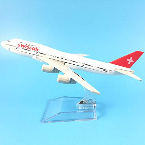 QLRL 16Cm 747 Swiss Aviation Metalllegierung Modell Flugzeug Modell Geburtstagsgeschenk