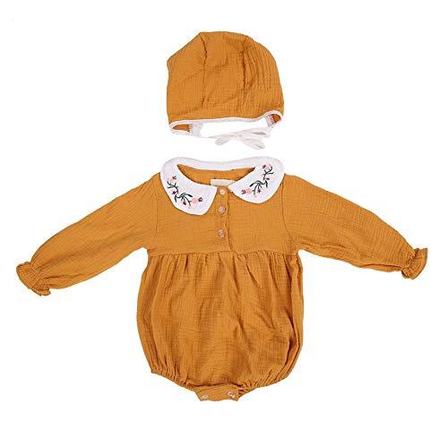 Babyspeelpak pasgeborduurd meisje Peter Pan kraag body lange mouwen overall met hoed 90 geel