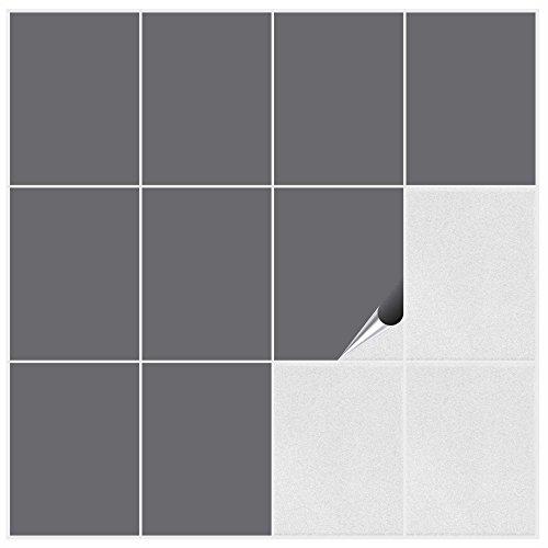 FoLIESEN Fliesenaufkleber Küche u. Bad-15x20 cm matt-60, PVC, Silbergrau matt, 60 Stück, Einheiten