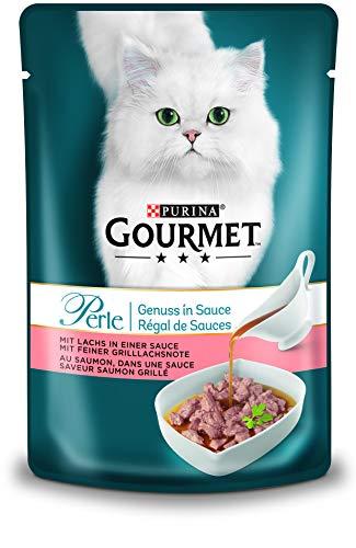 PURINA GOURMET Perle Genuss in Sauce Katzenfutter nass, mit Lachs, 24er Pack (24 x 85g)