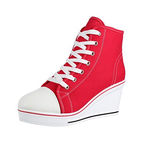 Elara Zapatilla de Deporte Tacón de cuña Unisex Sneaker High Top Chunkyrayan B6986-SP Red-37